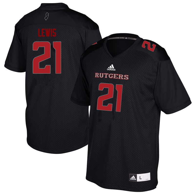 Men #21 Eddie Lewis Rutgers Scarlet Knights College Football Jerseys Sale-Black