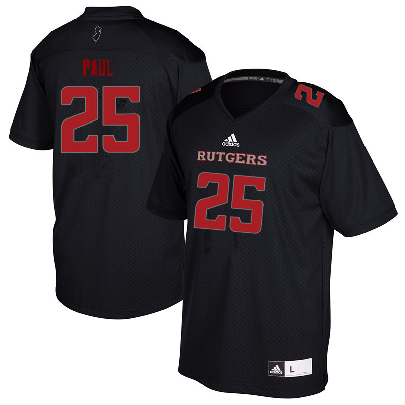 Men #25 Jarrett Paul Rutgers Scarlet Knights College Football Jerseys Sale-Black