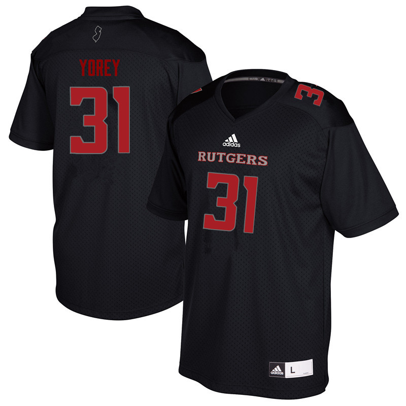 Men #31 Johnny Yorey Rutgers Scarlet Knights College Football Jerseys Sale-Black
