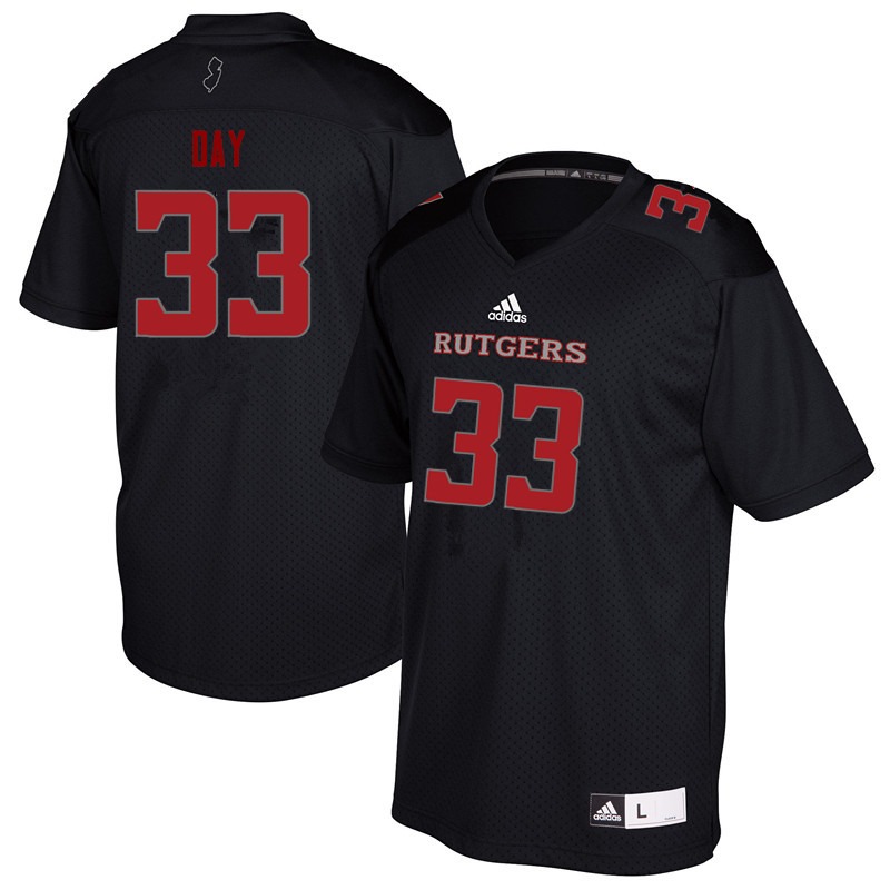 Men #33 Parker Day Rutgers Scarlet Knights College Football Jerseys Sale-Black