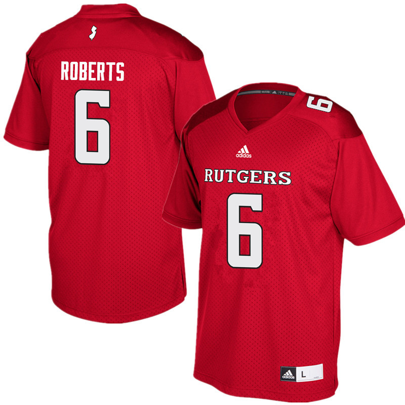 Men #6 Deonte Roberts Rutgers Scarlet Knights College Football Jerseys Sale-Red