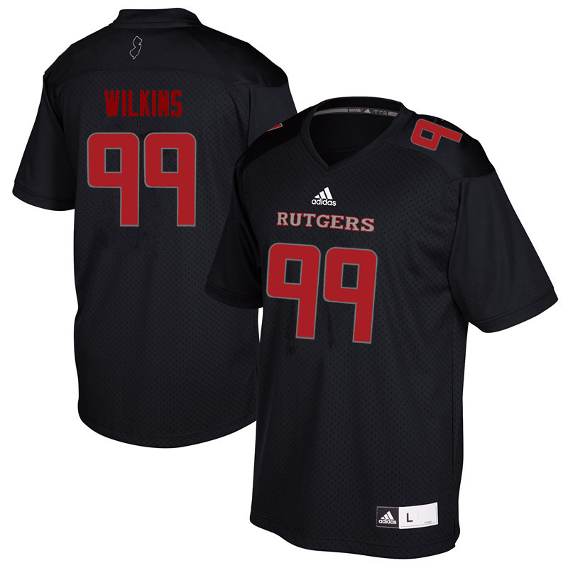 Men #99 Kevin Wilkins Rutgers Scarlet Knights College Football Jerseys Sale-Black