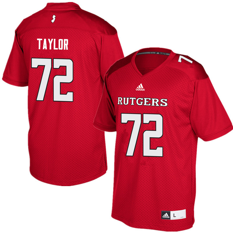 Men #72 Manny Taylor Rutgers Scarlet Knights College Football Jerseys Sale-Red