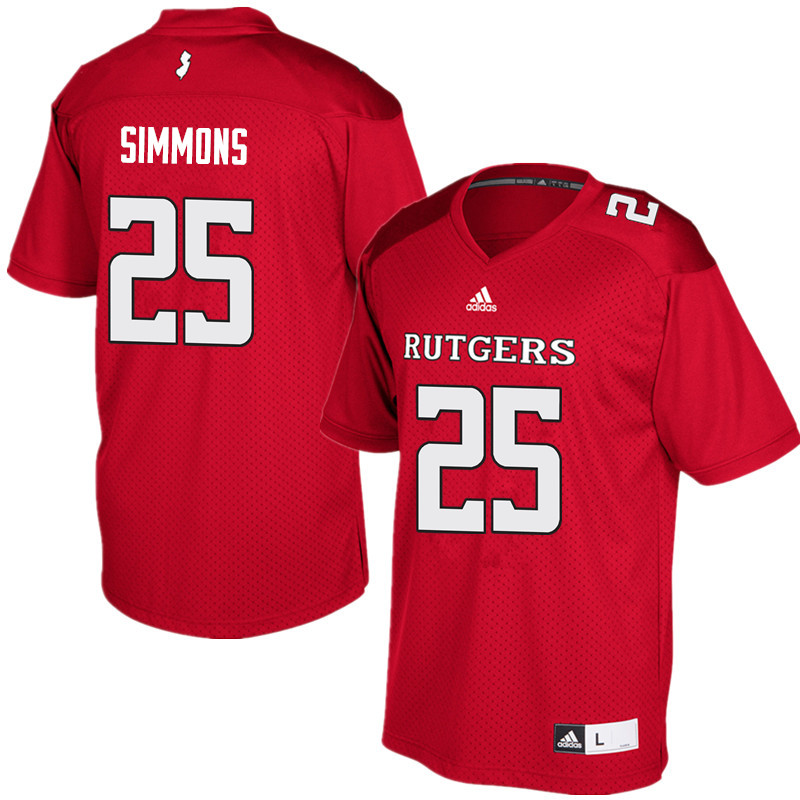 Men #25 Syheim Simmons Rutgers Scarlet Knights College Football Jerseys Sale-Red
