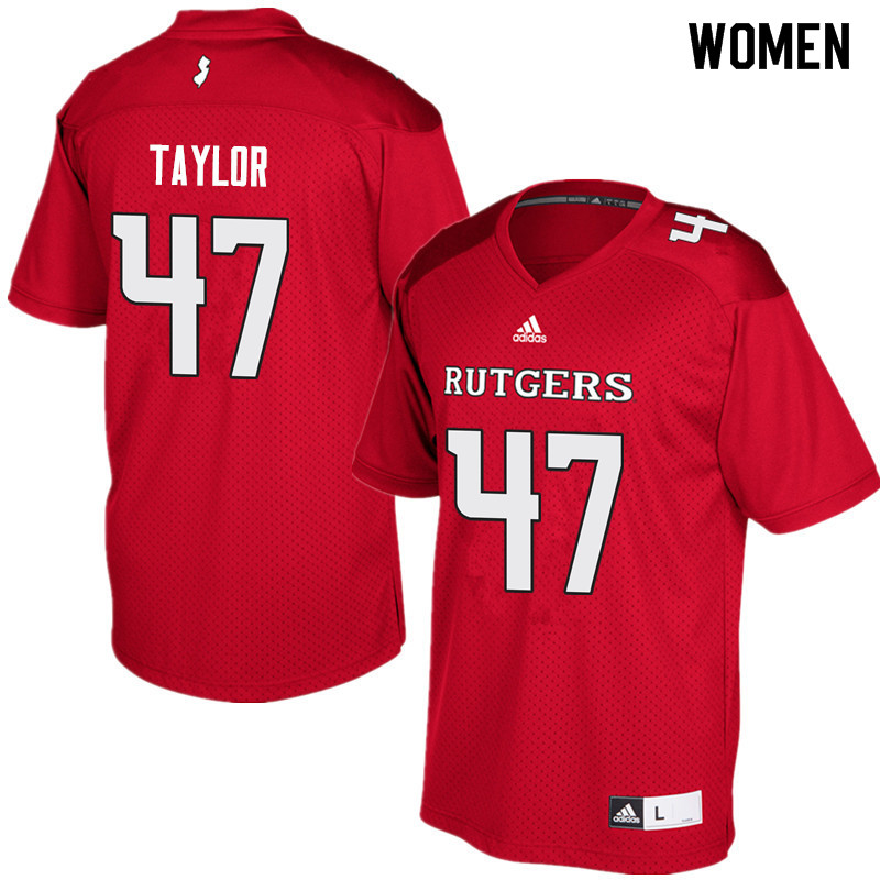 Women #47 Bill Taylor Rutgers Scarlet Knights College Football Jerseys Sale-Red