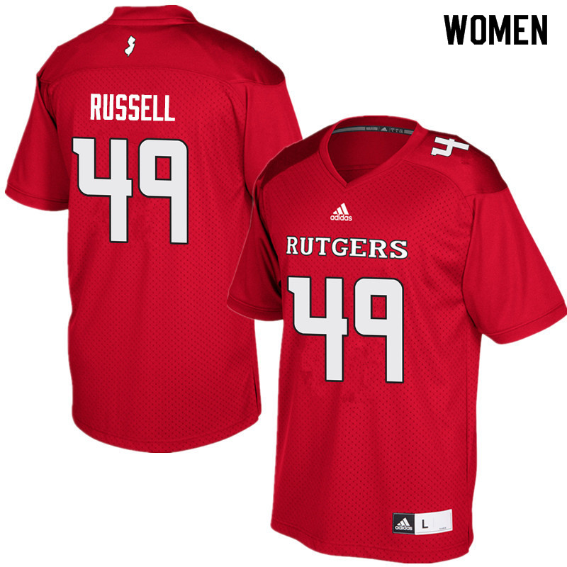 Women #49 Brandon Russell Rutgers Scarlet Knights College Football Jerseys Sale-Red