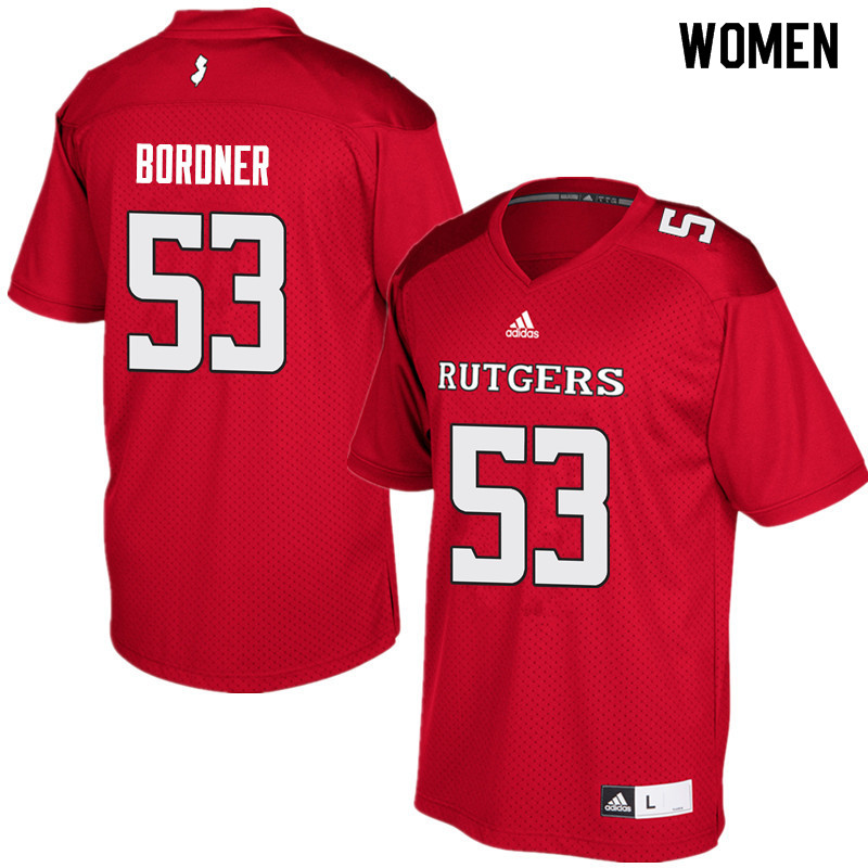 Women #53 Brendan Bordner Rutgers Scarlet Knights College Football Jerseys Sale-Red