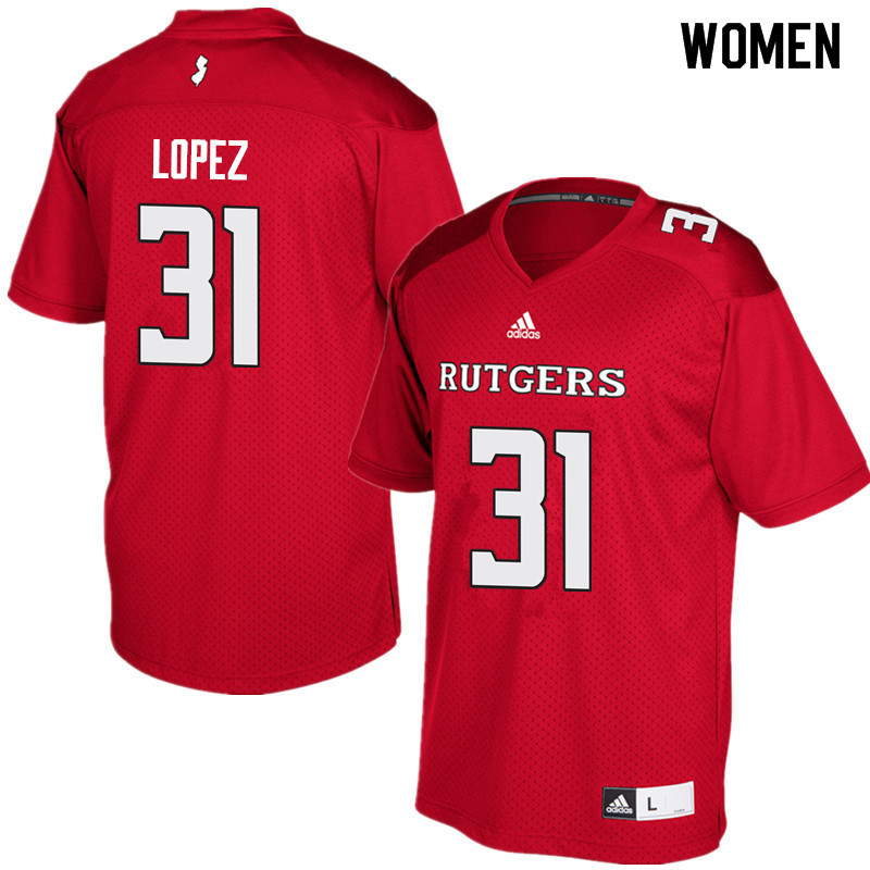 Women #31 Edwin Lopez Rutgers Scarlet Knights College Football Jerseys Sale-Red
