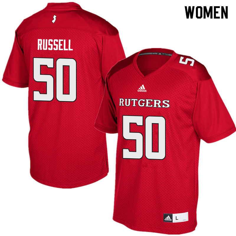 Women #50 Owen Bowles Rutgers Scarlet Knights College Football Jerseys Sale-Red