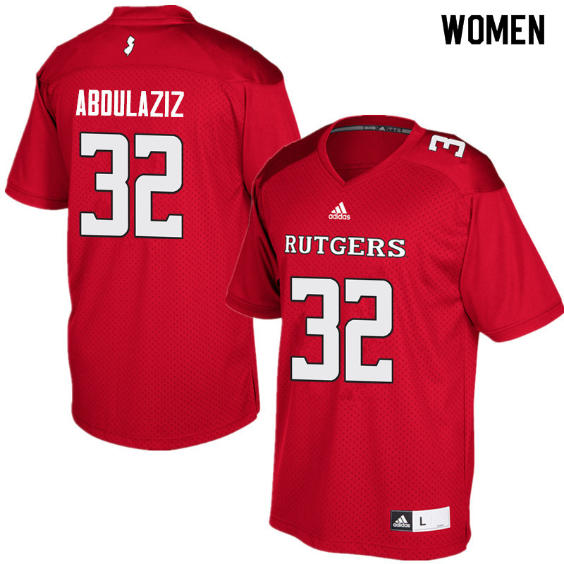 Women #32 Rani Abdulaziz Rutgers Scarlet Knights College Football Jerseys Sale-Red