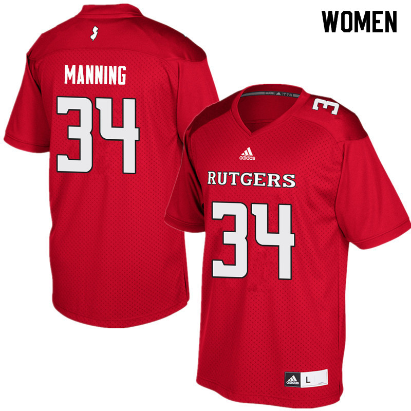 Women #34 Solomon Manning Rutgers Scarlet Knights College Football Jerseys Sale-Red