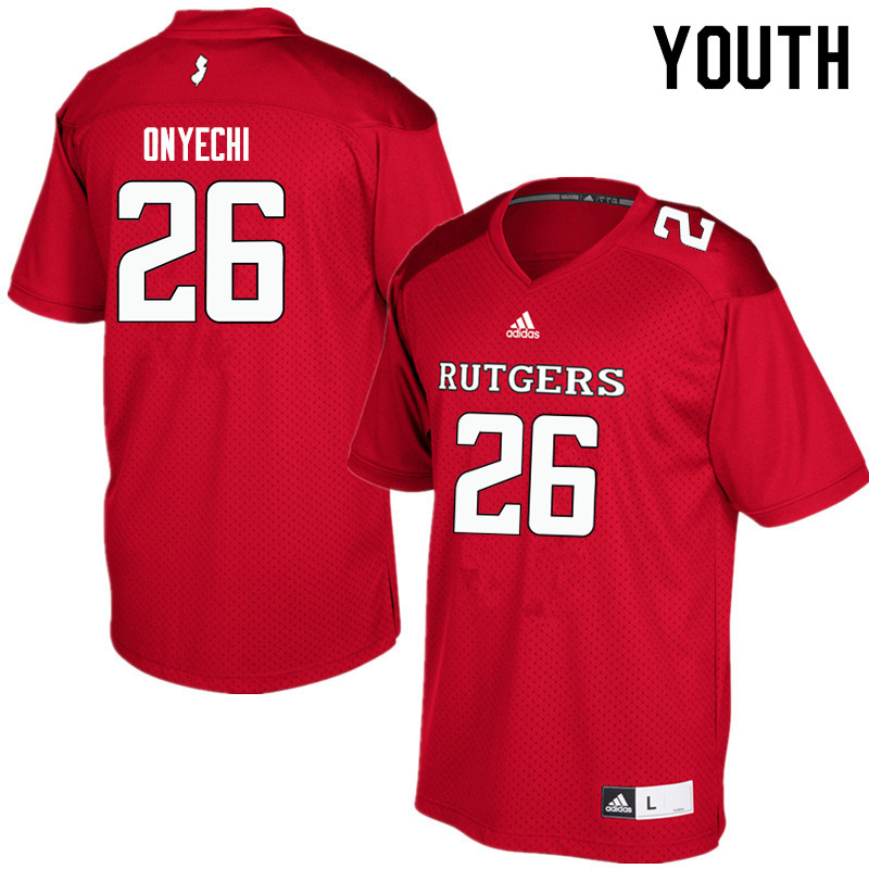 Youth #26 CJ Onyechi Rutgers Scarlet Knights College Football Jerseys Sale-Red