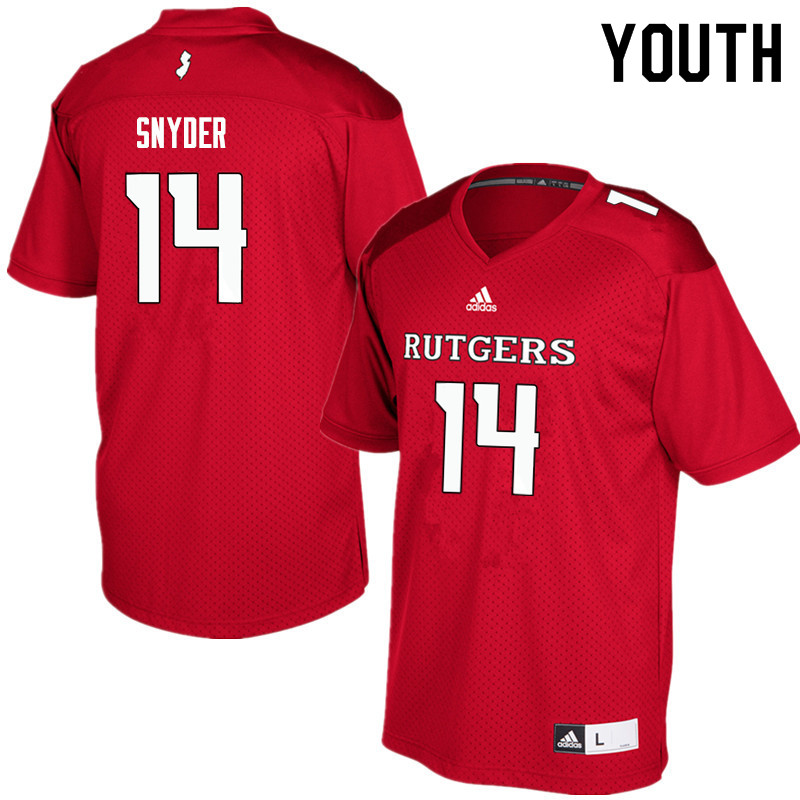 Youth #14 Cole Snyder Rutgers Scarlet Knights College Football Jerseys Sale-Red