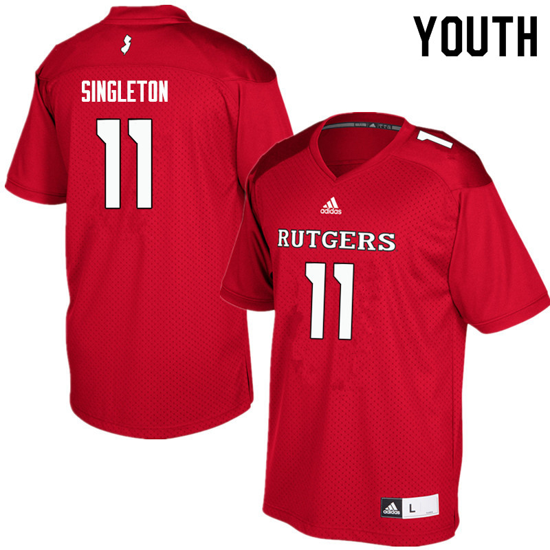 Youth #11 Drew Singleton Rutgers Scarlet Knights College Football Jerseys Sale-Red