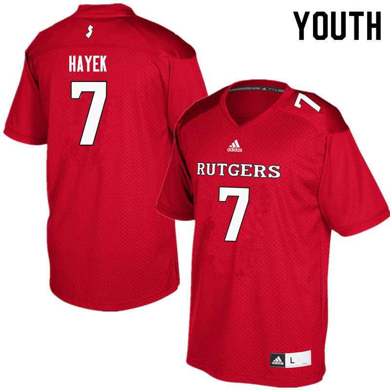 Youth #7 Hunter Hayek Rutgers Scarlet Knights College Football Jerseys Sale-Red