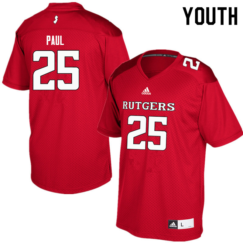 Youth #25 Jarrett Paul Rutgers Scarlet Knights College Football Jerseys Sale-Red