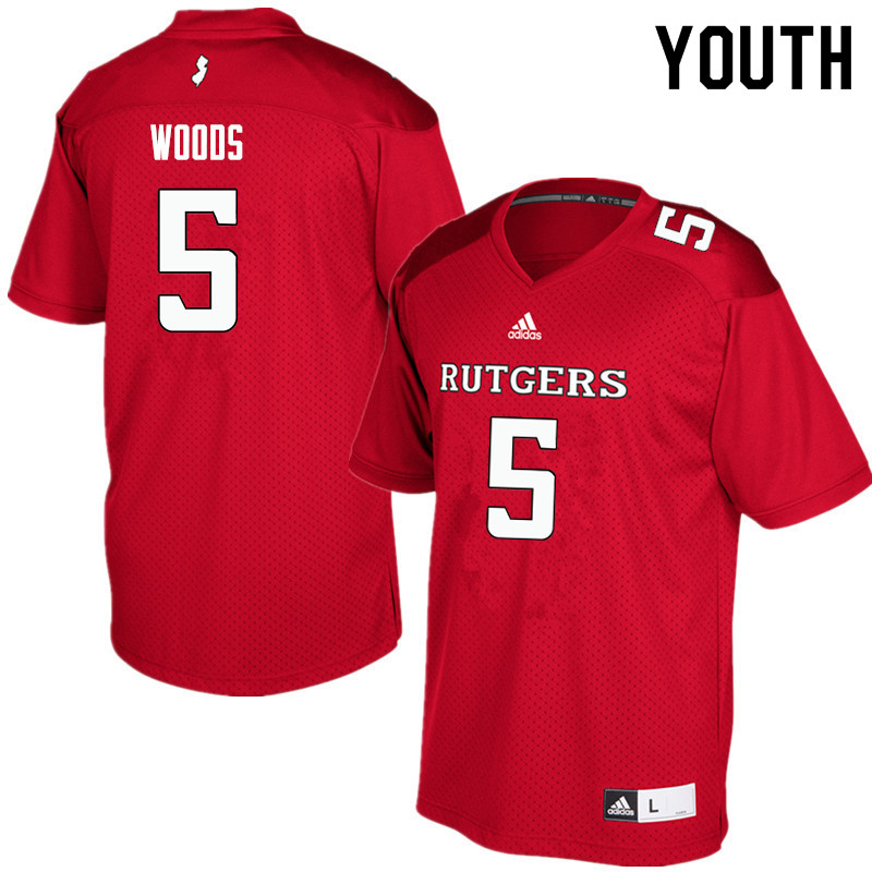 Youth #5 Paul Woods Rutgers Scarlet Knights College Football Jerseys Sale-Red
