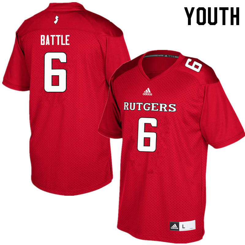 Youth #6 Rashawn Battle Rutgers Scarlet Knights College Football Jerseys Sale-Red
