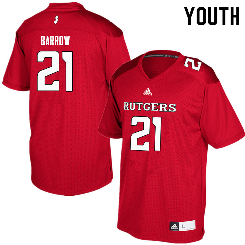 Youth #21 Tim Barrow Rutgers Scarlet Knights College Football Jerseys Sale-Red