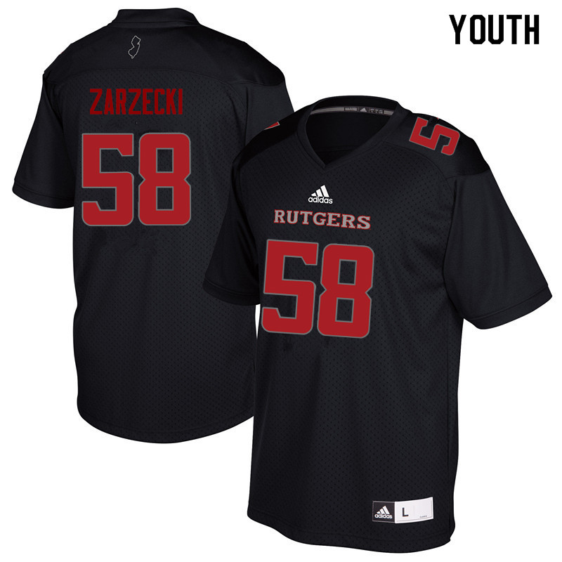 Youth #58 Charles Zarzecki Rutgers Scarlet Knights College Football Jerseys Sale-Black