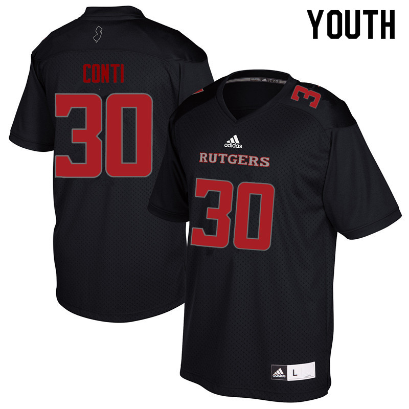 Youth #30 Chris Conti Rutgers Scarlet Knights College Football Jerseys Sale-Black