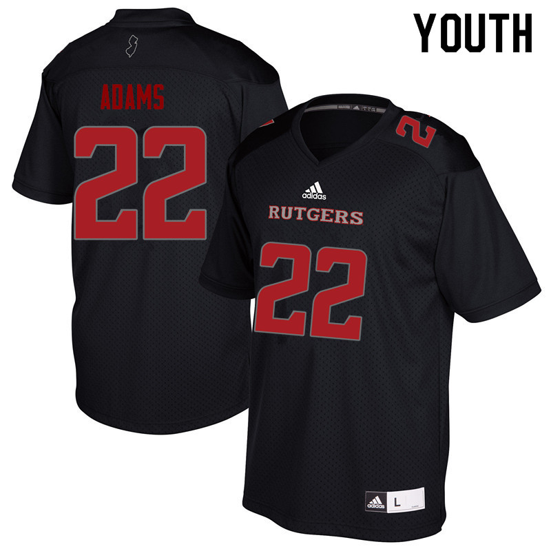 Youth #22 Kay'Ron Adams Rutgers Scarlet Knights College Football Jerseys Sale-Black