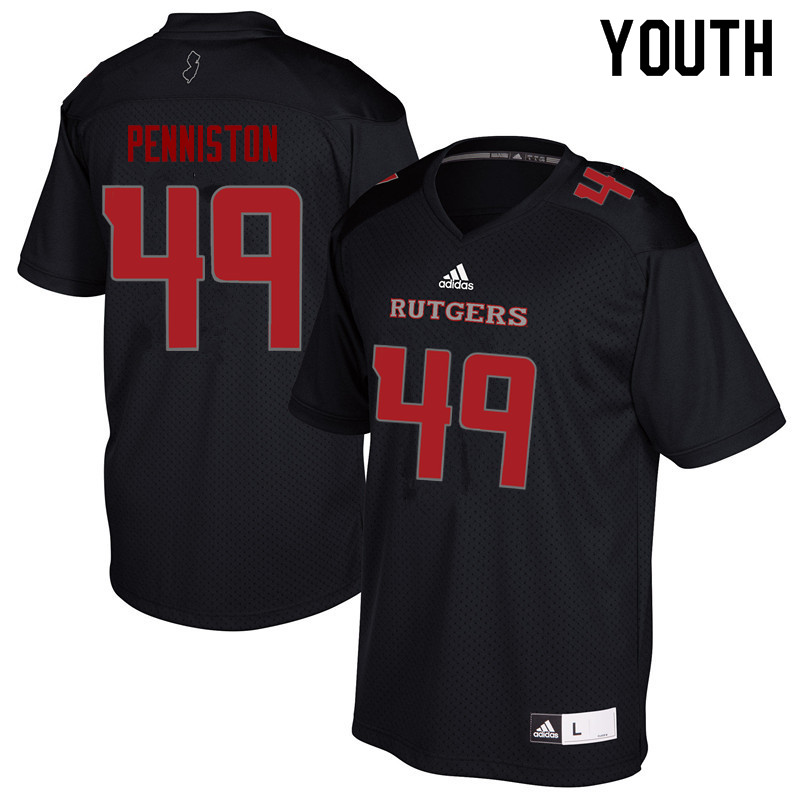 Youth #49 Kyle Penniston Rutgers Scarlet Knights College Football Jerseys Sale-Black