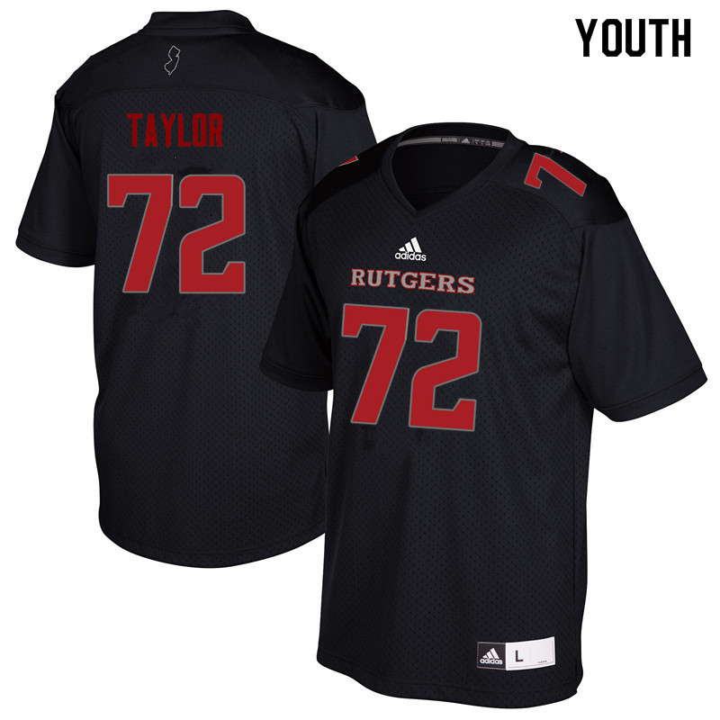 Youth #72 Manny Taylor Rutgers Scarlet Knights College Football Jerseys Sale-Black
