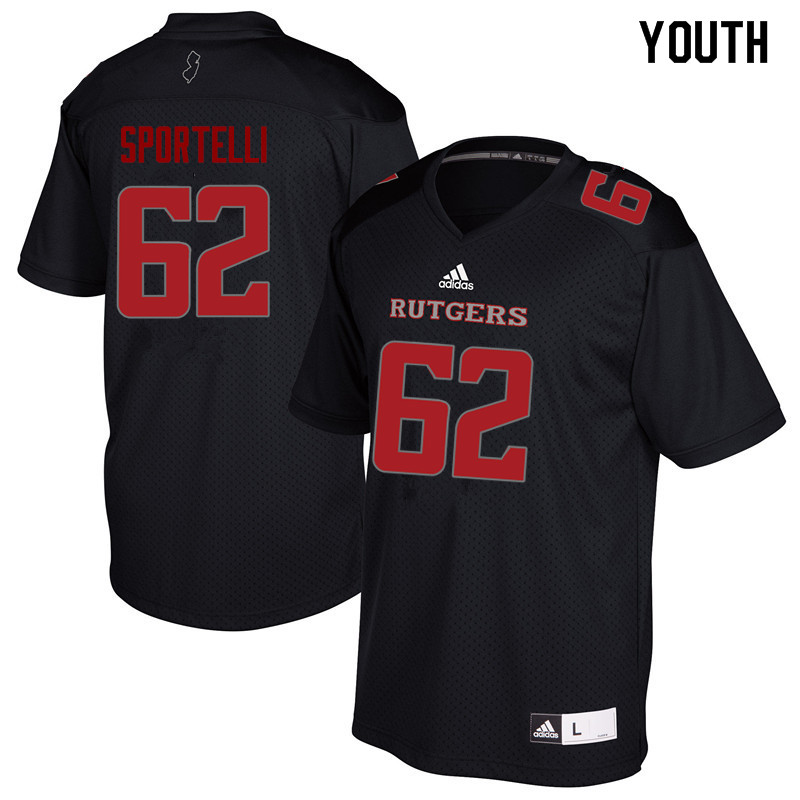 Youth #62 Matthew Sportelli Rutgers Scarlet Knights College Football Jerseys Sale-Black