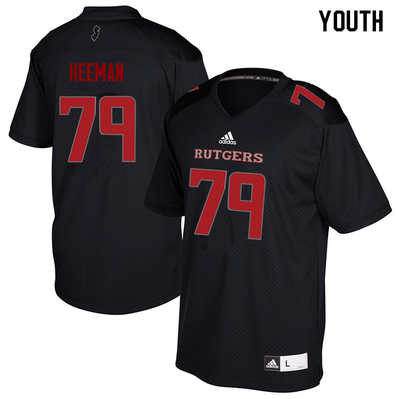 Youth #79 Zack Heeman Rutgers Scarlet Knights College Football Jerseys Sale-Black